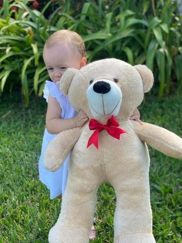 Imagem de Urso Gigante Pelúcia Grande Teddy 50 Cm  - Doce de Leite com Laço Vermelho