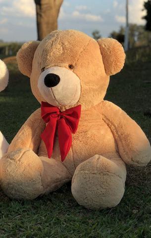 Imagem de Urso Gigante Pelúcia Grande Teddy 90 Cm - Doce de Leite com Laço Vermelho