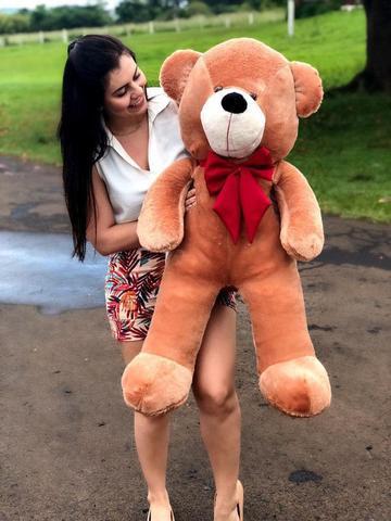 Imagem de Urso Gigante Pelúcia Grande Teddy 90 Cm - Mel com Laço Vermelho Luckbaby