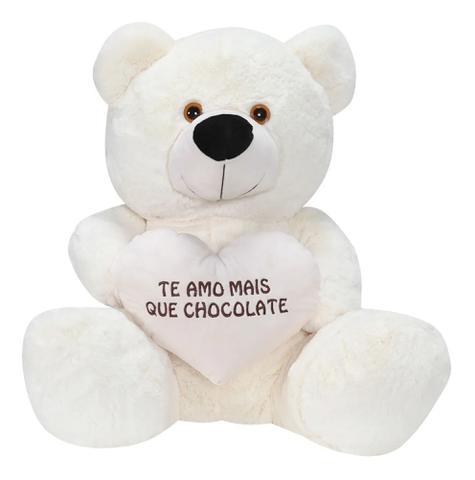 Imagem de Urso Pelúcia Gigante Presente Crianças Antialérgico 80cm Cor Marfim.