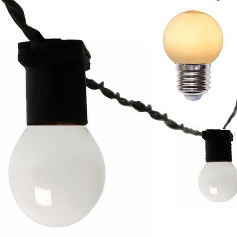 Imagem de Varal Cordão De Luzes Gambiarra de lampadas Rede Fio de luz 5 Metros Com Lampadas Leitosa 15w