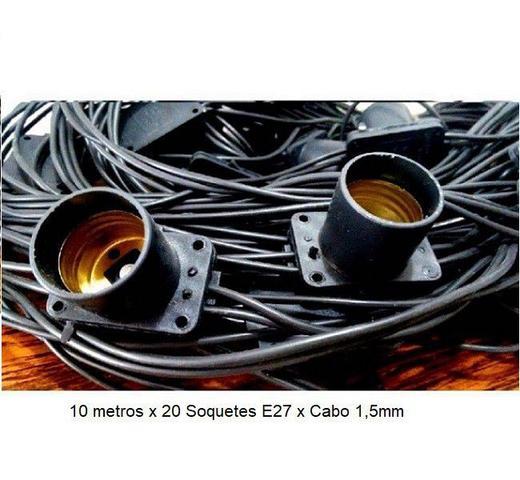 Imagem de Varal de Luz 10 metros com 20 Soquetes E27 Preto
