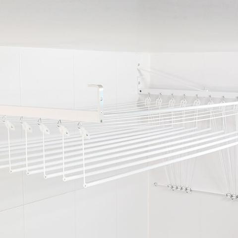 Imagem de Varal de teto ou parede Prático de alumínio medida 1,20 Metros com 5 Varetas Individuais