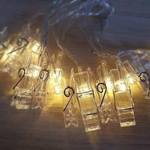 Imagem de Varal Luminoso Led Cordão 2 M Pregador 10 Prendedores - Coisaria