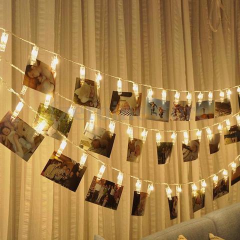 Imagem de Varal Luminoso Led Cordão 2 M Pregador 10 Prendedores - Zeppe