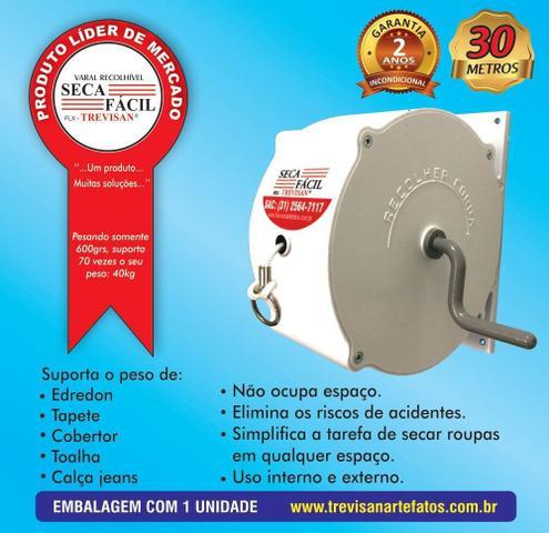 Imagem de Varal Recolhível Retrátil de Parede 30m Branco Seca Fácil