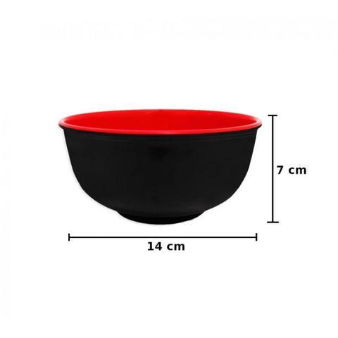 Imagem de Vasilha Tigela Redonda 14cm em Melamina / Plastico Vermelha com Preto  Wellmix