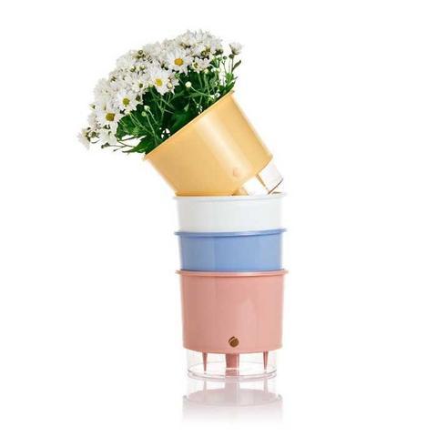 Imagem de Vaso Auto Irrigável Wishes Azul Serenety N03  Médio 16x14