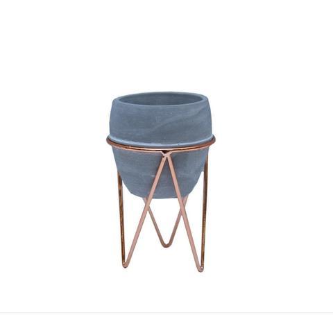 Imagem de Vaso Cachepot Oval em Cimento com Suporte Rosé - D8,5x13cm