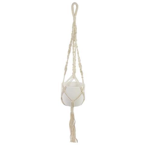Imagem de Vaso porcelana com suporte macrame para pendurar branco fosco 10cm- brascontinental