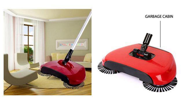 Imagem de Vassoura magica para limpeza geral com escovas e cabo longo