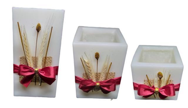 Imagem de Vela decorativa luminária quadrada com laço conjunto com 3 velas pmg
