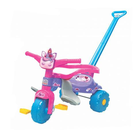 Imagem de Velotrol infantil Unicórnio Rosa Luz Empurrador Motoquinha Triciclo Tico Tico - Magic Toys 2570