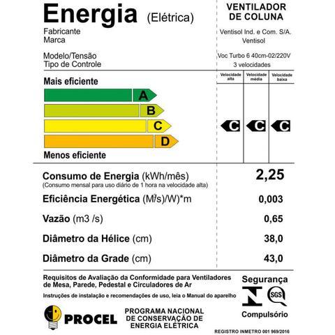 Imagem de Ventilador de Coluna Turbo 40cm 6 Pás Premium Ventisol 220V Preto