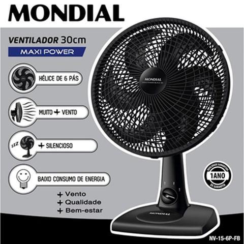 Imagem de Ventilador de Mesa 30cm Mondial NV-15-6P-FB Preto - 127V