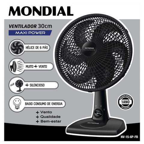 Imagem de Ventilador de Mesa Mondial Maxi Power 30cm 6 Pás 3 Velocidades NV-15