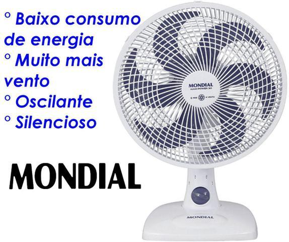 Imagem de Ventilador De Mesa Parede 30 Cm Silencioso Oscilante 6 Pás 50 Watts Branco 3 Velocidades 127V Econômico Mondial