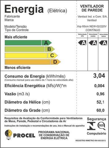 Imagem de Ventilador de Parede 60cm, 200W, Bivolt Preto Ventisol