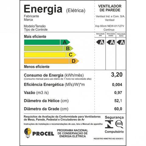 Imagem de Ventilador de Parede 60cm New Premium Ventisol 127V Preto