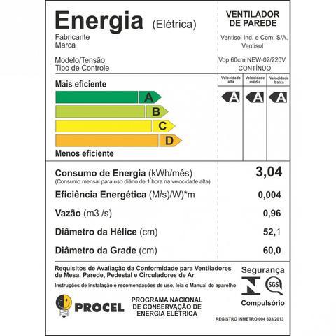 Imagem de Ventilador de Parede 60cm New Premium Ventisol 220V Preto
