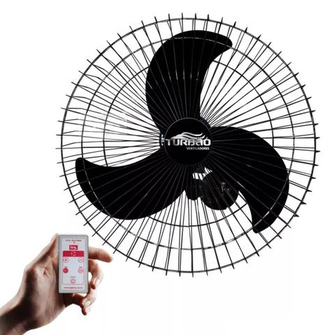 Imagem de Ventilador de Parede Oscilante 60cm Preto Turbão Bivolt c/ Controle Remoto 200w