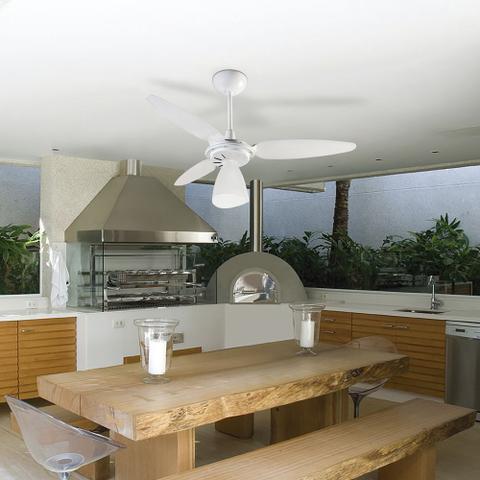 Imagem de Ventilador de Teto Ventisol Wind Light com Controle Remoto 3 Pás Luminária Branco - 220V