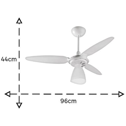 Imagem de Ventilador de Teto Ventisol Wind Light com luminária 3 Pás policarbonato Branco para 1 Lâmpada 127v