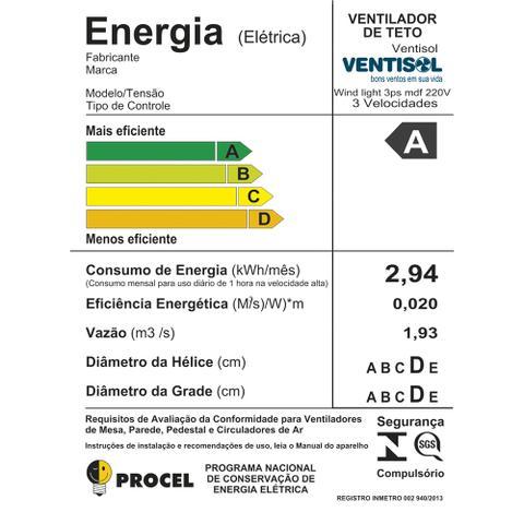 Imagem de Ventilador de Teto Ventisol Wind Light Premium Branco/Mogno 3 Velocidades 127V