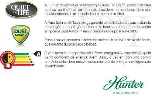 Imagem de Ventilador Teto Hunter Sonic Níquel Escovado 4 Pás Preta e Controle Remoto 127V