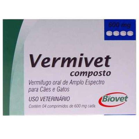 Imagem de Vermífugo Biovet Vermivet Composto 600mg - 4 Comprimidos