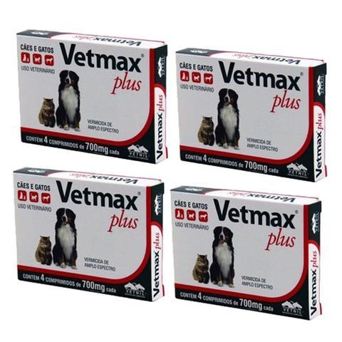 Imagem de Vermífugo Vetmax Cães E Gatos 4 Comprimidos Kit 4cx Vetnil