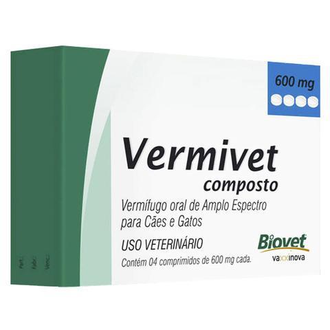 Imagem de Vermivet Vermífugo Composto Biovet 600mg - com 4 Comprimidos