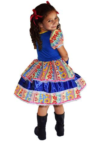 Imagem de Vestido de festa junina caipira infantil com luva elaço de cabelo g