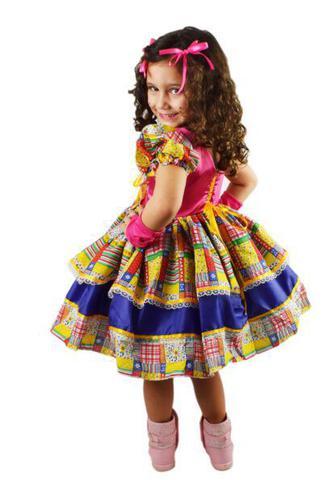 Imagem de Vestido de festa junina caipira infantil com luva elaço de cabelo