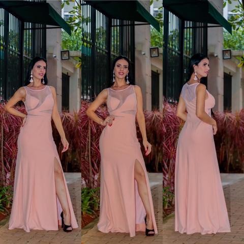 Imagem de Vestido De Madrinha Nude Pastel Festa Fenda Casamentos