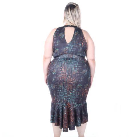 Imagem de Vestido elegance midi plus size estampado com saia estruturada peplum mulet