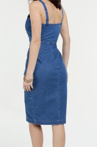 Imagem de Vestido Feminino Jeans Botões Com Recorte Ref.ma5aa24!