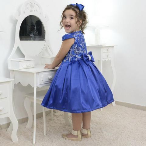 Imagem de Vestido festa infantil azul com tule francês com bordado floral