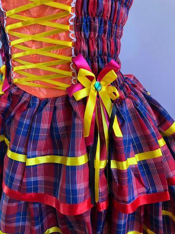 Vestido Festa Junina Luxo Adulto Vermelho Azul Laranja - Moda junina ... 0d4608a4f8d