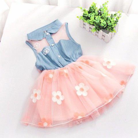 Imagem de Vestido Infantil Menina Festa De Brim Com Tule Florido