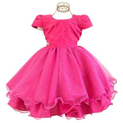 Imagem de Vestido Infantil Pink Masha Barbie Princesa Brilho Luxo