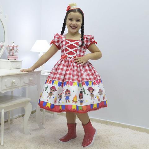 Imagem de Vestido infantil tema quadrilha - Festa Junina da Lol Surprise