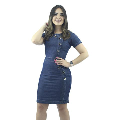 Imagem de Vestido Jeans Modelo Tubinho com Ilhós Anagrom Ref.5009