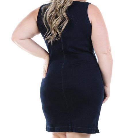 Imagem de Vestido Jeans Regata Tricolor Plus Size