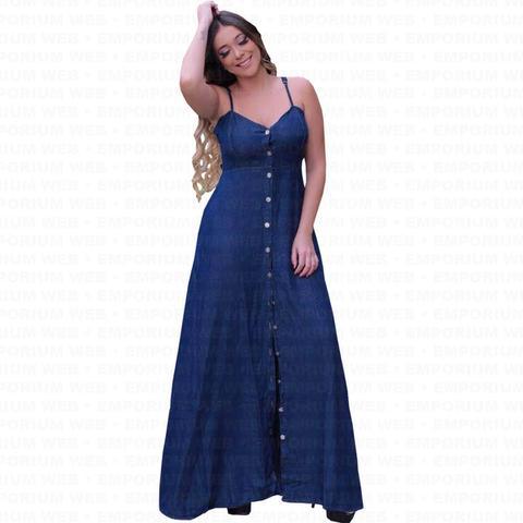 Imagem de Vestido Longo Jeans Alça Regulável e Botões frontal Moda Plus Size (P ao G3) - Azul Escuro