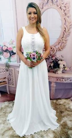 Vestido Noiva Simples Renda Guipir Casamento Lindo Grife Velasco