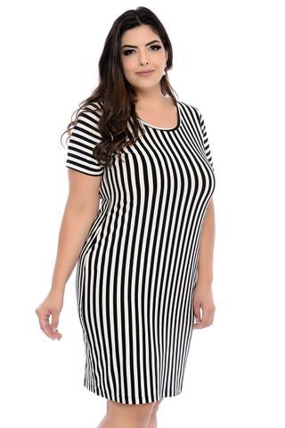 Imagem de Vestido Plus Size Listrado em Branco e Preto