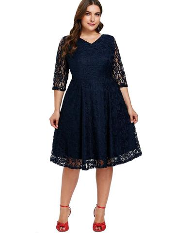 Imagem de Vestido Plus Size Renda Noite Festa  Rodado Aniversario