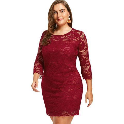Imagem de Vestido Renda Plus Size Moda Gospel Casamento