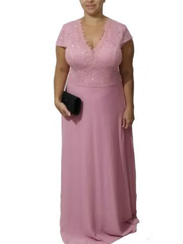 Imagem de Vestido Senhora Plus Size  Rosa Festa Casamento Manguinha